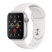 Apple Watch Series 5 GPS, 40mm (Silver Aluminum Case With Sport Band White)